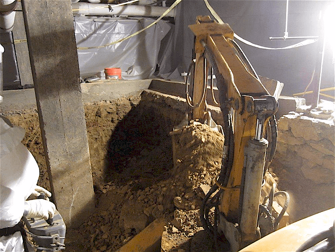 Under building excavation